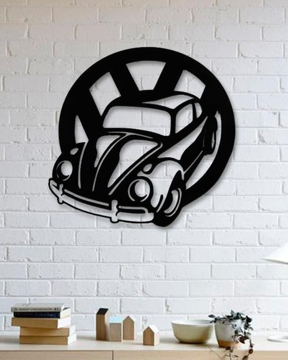 Vw Beetle Car Metal Wall Deco New Beetle Metal Art Wall Etsy Metal Wall Art Metal Wall Decor Wall Design