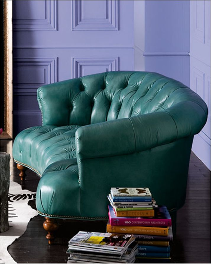 Teal Leather Sofa