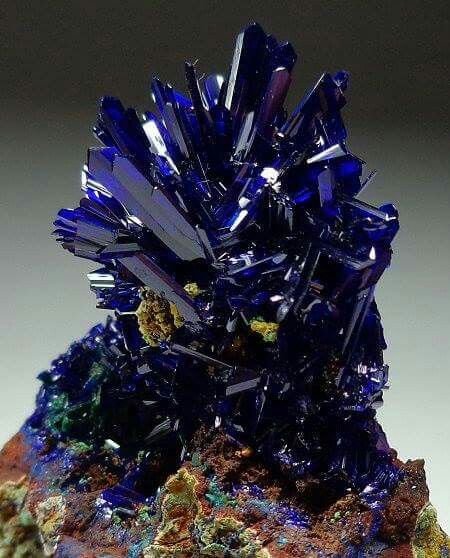 Azurite | #Geology #GeologyPage #Mineral  Locality: El Cobra Mine, Mexico  Photo Copyright © trinityminerals  Geology Page www.geologypage.com