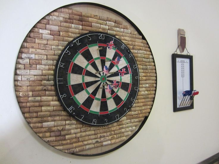 Dartboard Backboard Made From Wine Corks And Barrel Hoop