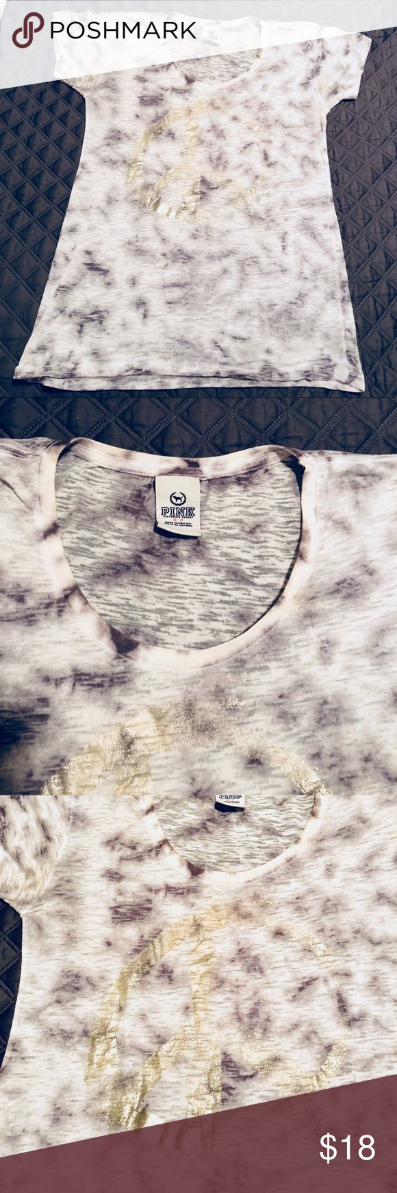 PINK Victoria's Secret ✌️ burnout tee Super soft burnout tee in white/gray tie dye with gold foil peace sign. Gently worn with some fading/discoloration in some spots, but not noticeable due to the distressed/weathered look which is by design! PINK Victoria's Secret Tops Tees - Short Sleeve