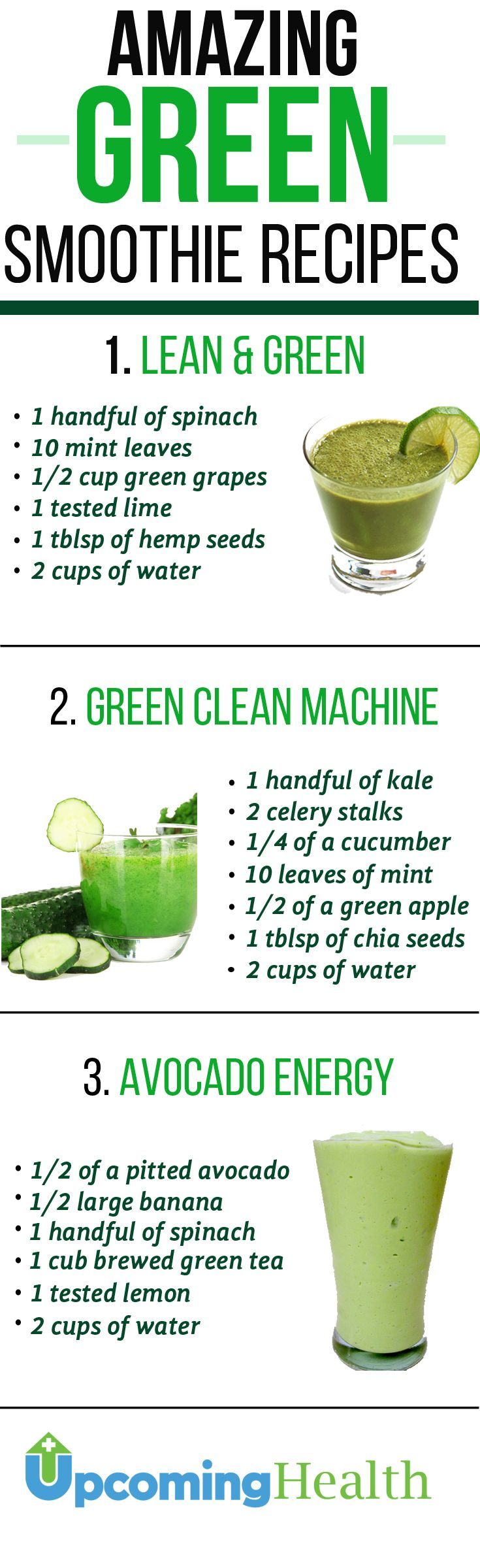 Green smoothies are extremely healthy and great for those looking to shed a couple of pounds. They are packed with nutrients and fiber. Green smoothies are the perfect way to get your daily greens serving. Try these easy to make green smoothie recipes and you will fall in love! See more at upcominghealth.com #TheBeautyAddict