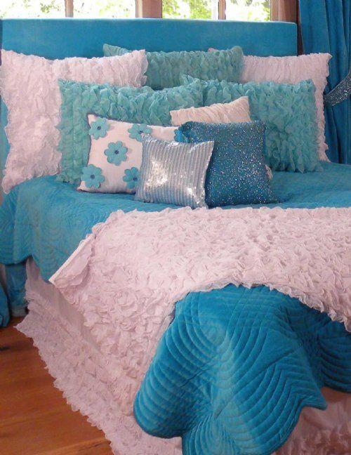 aqua and white ruffled bedding | Girls Bedding | Turquoise Chiffon Ruffle Bedding - Sweet and Sour Kids