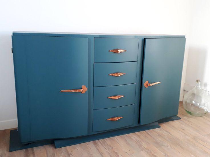 Voici ce que je viens d'ajouter dans ma boutique #etsy: Buffet peint bleu canard, meuble année 30 revisité, buffet bas, vaisselier, bahut avec ou sans marbre noir et blanc http://etsy.me/2GMSeU1