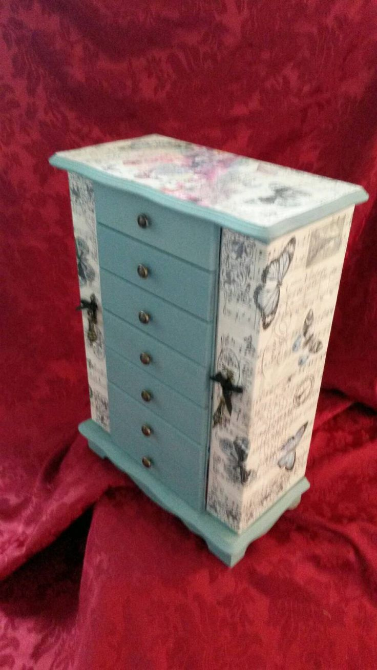 Excited to share the latest addition to my #etsy shop: Extra Large Jewellery Cabinet,Shabby chic.Paris,Butterfly,Butterflies.Jewelry Drawers.tall jewelry box,duck egg blue,french,Eifell tower #jewelry #blue #wood #girls #necklace #beige #animals #jewellerybox #handpainted http://etsy.me/2CCDmF8