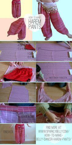 How to Make Belly Dancer Harem Pants - SPARKLY BELLY