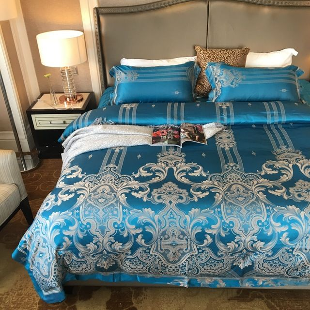 100% cotton bedding set-satin bed sheet blue jacquard duvet cover bedding pillowcase,queen king size bed linens luxury bedding