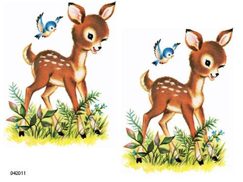 Vintage Meyercord Fawns Decals
