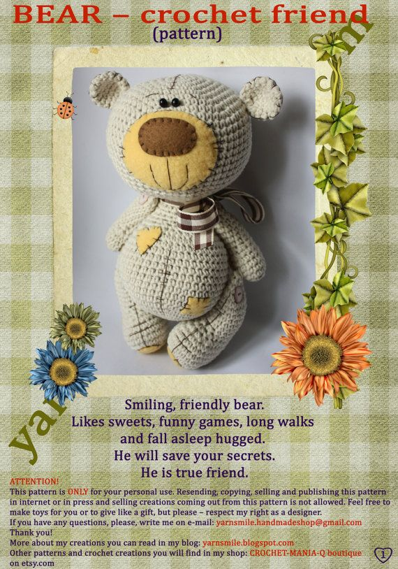 Amigurumi teddy bear with patch soft toy crochet pattern - (IN ENGLISH LANGUAGE)
