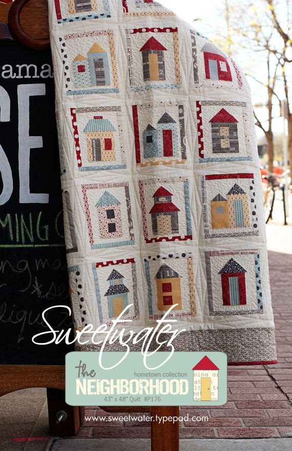 The Neighborhood pattern by Sweetwater...really like house patternLittle House, Quilt Patterns, The Neighborhood, Sweetwater Quilt, Neighborhood Pattern, Quilt House, House Quilts, House Pattern, Neighborhood Quilt
