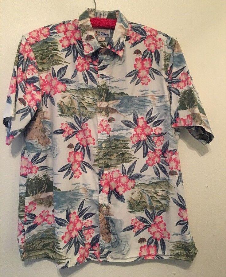 """Reyn Spooner Hawiian Shirt 1990""""s  Kilauea Lighthouse.Kauai North Shore Size L #ReynSpooner #Hawaiian"""