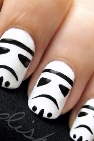 And this one: | 25 Gloriously Geeky Nail Art Tutorials - Actually I wouldn't do it, I don't have the patience to do any nail art