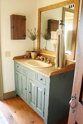 good drop-in sink idea for primitive or colonial home: wood counter and backsplash. sealed with marine sealer?