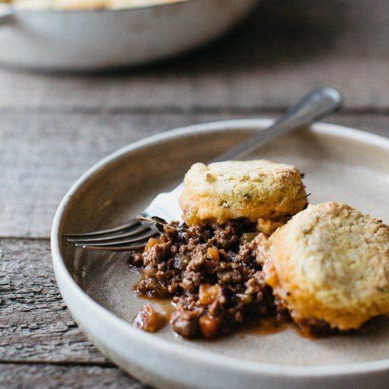 Honey and thyme pumpkin scones on top of a rich Shepard's Pie.