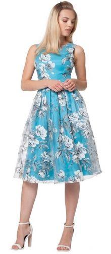 Chi Chi London šaty Camila, tyrkysové s květy