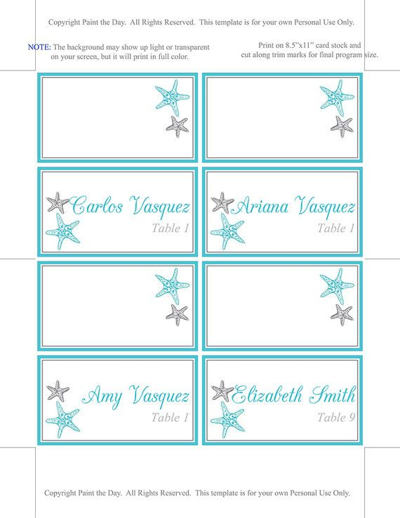 Place Card Template Thinkweddings Wedding Place Card Template