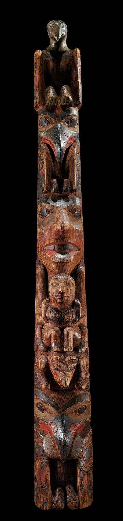 A Haïda model totem pole, carved by George Young, Northwest Coast
