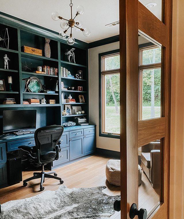 Cozy Homeoffice Decor: Navy Blue Cabinets For Custom Home Office / Custom Doors