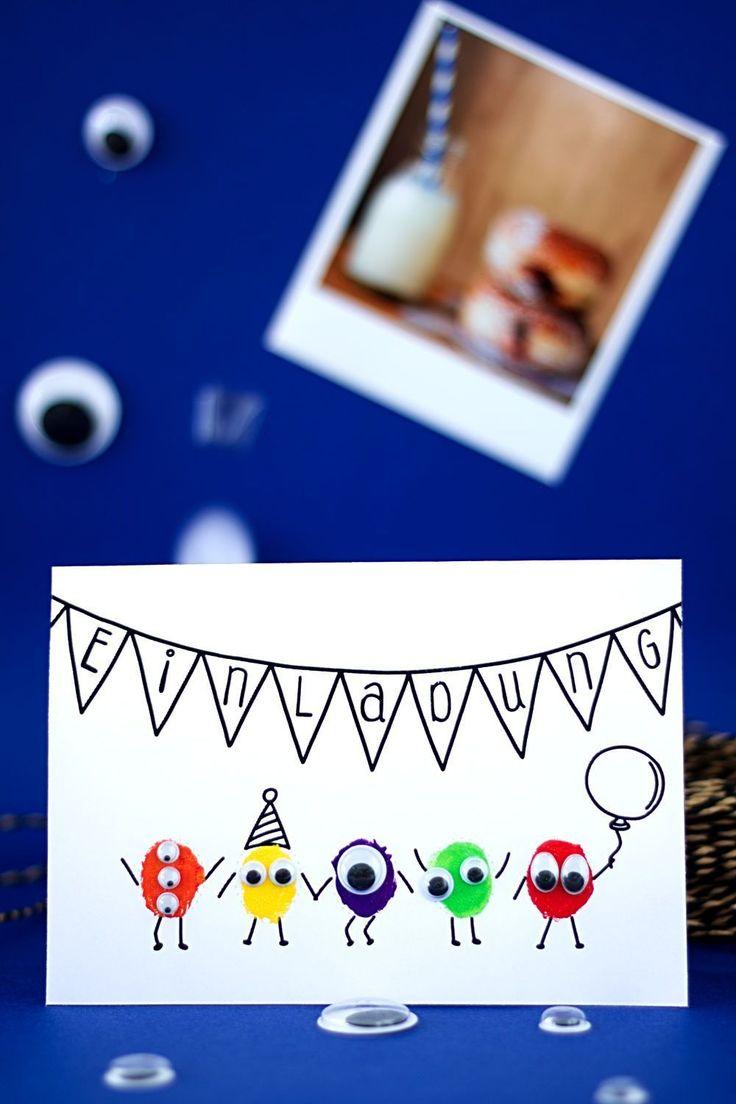 Monster Einladungskarte für Kindergeburtstag selber basteln