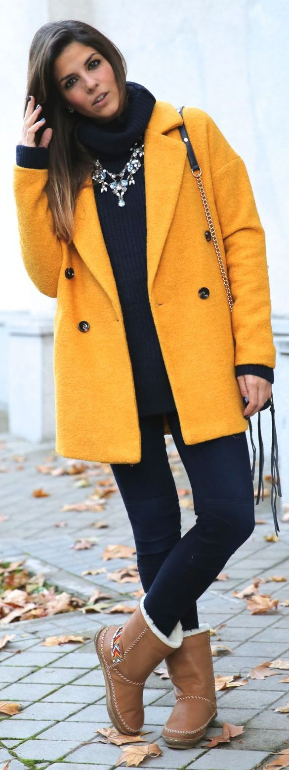 Mustard Plus Sized Coat by TrendyTaste. Could do without the Uggs...they ruin the look...ugh!