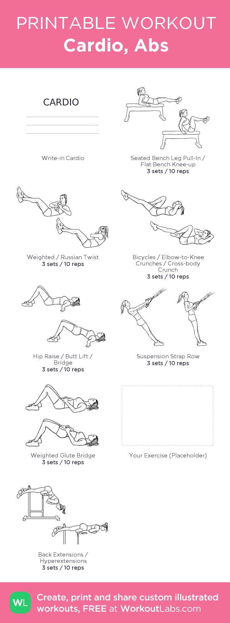 Cardio, Abs:my visual workout created at WorkoutLabs.com • Click through to customize and download as a FREE PDF! #customworkout