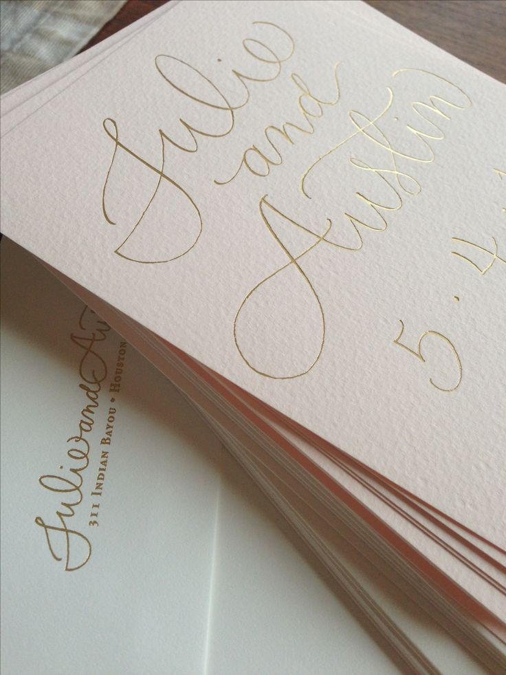 Foil invites save the dates on blush paper my Meldeen.com
