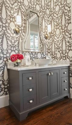 Schumacher Chenonceau Wallpaper Charcoal
