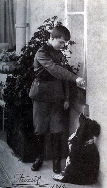 Tsarevich Alexei with his dog, Joy
