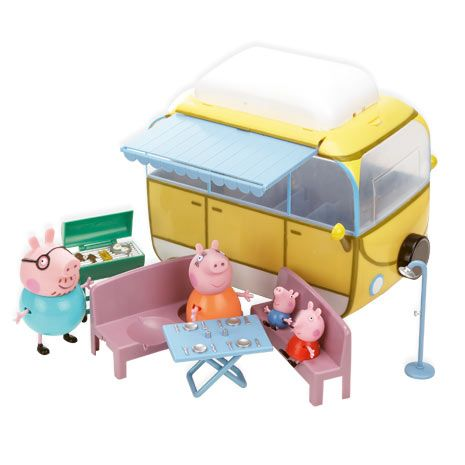 Peppa Pig Camper Van Playset Withdraw the awning and prepare for Peppa Pigs BBQ. This fantastic Campervan Playset includes, Peppa Pig, George Pig, Mummy Pig and Daddy Pig, along with many accessories. Get the picnic table re http://www.comparestoreprices.co.uk/childs-toys/peppa-pig-camper-van-playset.asp