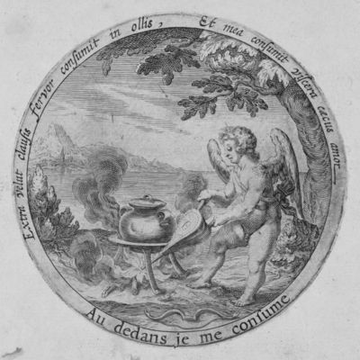 Cupid rousing the fire beneath a closed cooking-pot with a pair of bellows