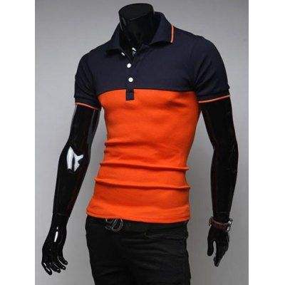 Korean Style Turn-down Collar Slimming Stylish Color Splicing Short Sleeves Men's Polyester Joker Polo Shirt-12.89 and Free Shipping| GearBest.com