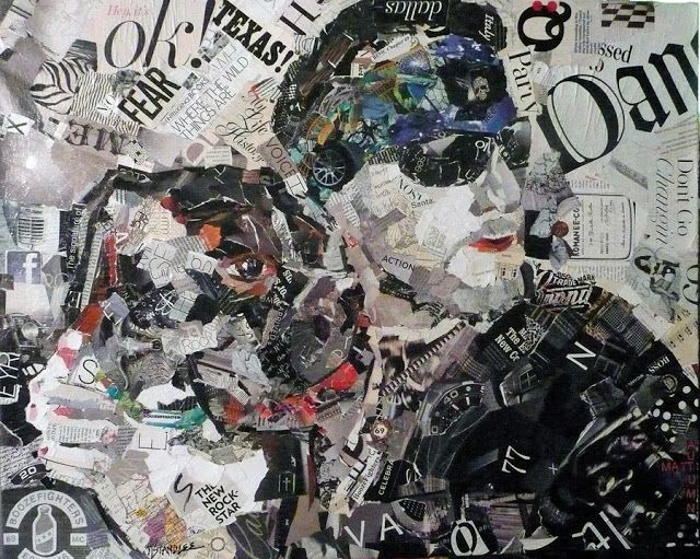 Nancy Standlee Fine Art: Matt, a Torn Paper Collage Portrait Painting by Texas Collage Artist, Nancy Standlee and a One Day Sketchbook Journaling Workshop.