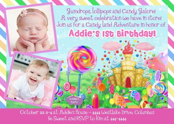 108 best creative images on pinterest birthdays candy land candyland candy land birthday party invitation custom digital file 1800 via etsy stopboris Gallery