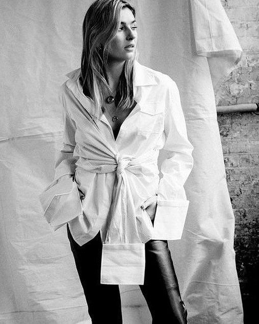 Double layers | @camillecharriere perfectly styles her white ANNA QUAN shirting