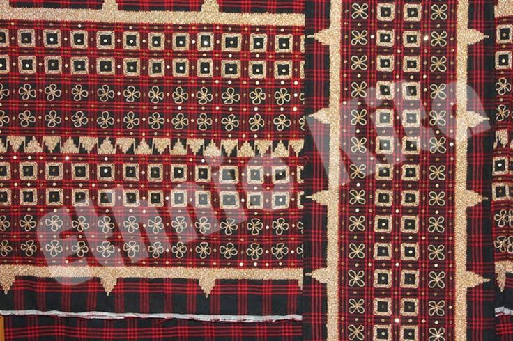 "Traditional Woven Lampung Tapis, with ""square pucuk rebung"" motif.    Measurements : Length: 120cm x Width: 80cm   Material : Dark Red Saroong Woven, with Twisted threads of cotton and gold thread   Motif : Pucuk Rebung with square   Ethnic Of : Lampung, Sumatera   Description :  - Regioal Origin: Lampung, Indonesia"