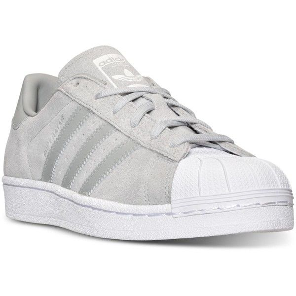 adidas Women's Superstar Casual Sneakers from Finish Line (€47) ❤ liked on Polyvore featuring shoes, sneakers, adidas, flats, zapatos, retro sneakers, rubber footwear, adidas shoes, long shoes and flat shoes