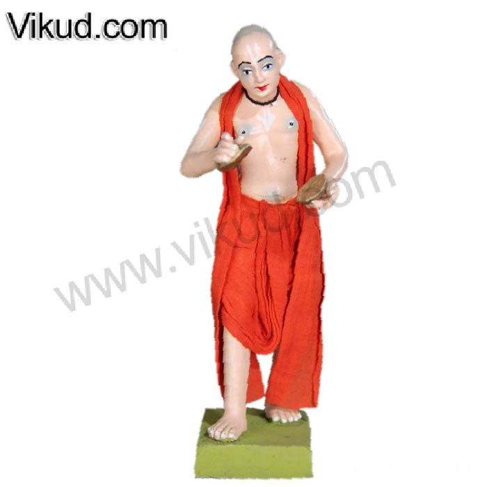Terracotta-Saffron Brahmacari Playing Kartals Doll- (6 Inches)