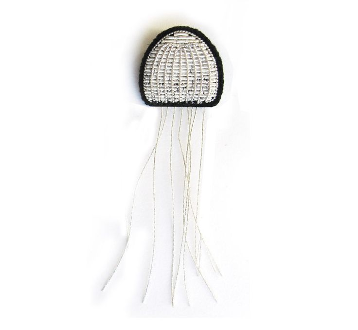 small embroidered Jellyfish pin / macon & lesquoy