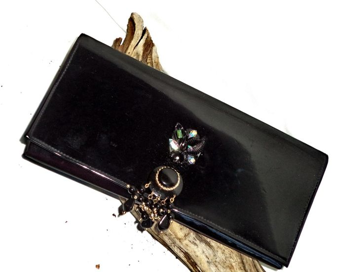 vintage 80s VEGAN embellished clutch bag black patent BEADS RHINESTONES JEWELED