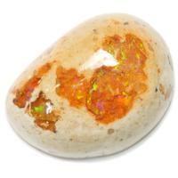 カンテラオパール カンテラオパール   宝石名 カンテラオパール サイズ 24.5x18 重 量 24.34ct カ ッ ト 変形カボション 硬 度 6 品 番 L0000709 価 格 10,000円   母岩付きのメキシコオパールをカンテラオパールと呼びます オパール部分はオレンジ系で赤、オレンジ、黄緑などの遊色がよく見えます 存在感抜群の大粒ですがお求めやすい価格で大変おすすめです
