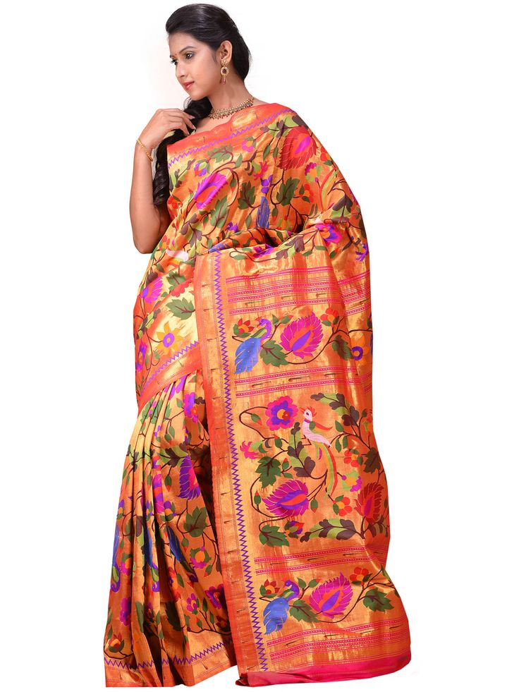 Paithani Sarees are traditional Maharastrian Sarees, they are well known for their beautiful royal look appearance. Paithani Sarees has very intricate interlock weaving and take months to make one saree.