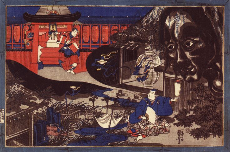 "Utagawa-Kuniyoshi-(1797-1861) Head-of-Kasane--the-ghost-of-Oiwa  Ukiyo-e or ""pictures of the floating world"" is a genre of paintings that describes the urban lifestyle, especially the pleasure-seeking aspects of Edo-period Japan (1600–1867). Developed in Yoshiwara, the licensed red-light district.  	The term ukiyo (when meaning the Floating World) is also an ironic allusion to the homophone ukiyo (憂き世 ""Sorrowful World""), the earthly plane of death and rebirth from which Buddhists sought…"