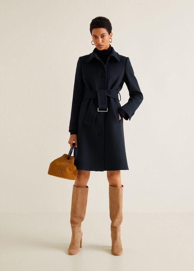 391c06c008ec5 MANGO CAMEL Manteau en laine avec ceinture Bleu Marine - Manteau Femme Mango  | Mango E-Shop | Manteau laine, Ceinture bleu et Manteau