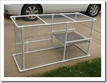 Outdoor Cat Enclosure diy, pvc pipe and chicken wire.  To keep litter box and food out of the house .