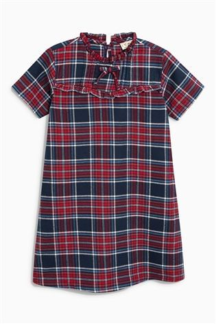 Buy Check Tartan Tie Neck Dress (3-16yrs) from the Next UK online shop