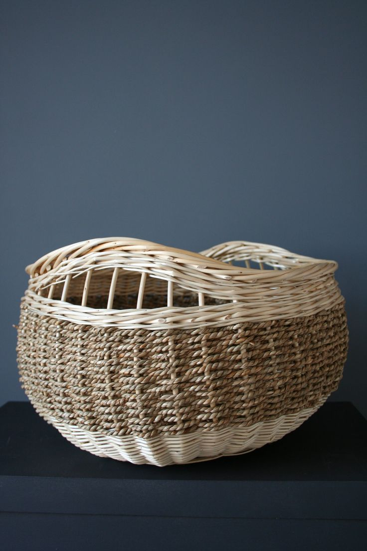 grande corbeille osier blanc et corde. k-batz, atelier de vannerie. www.k-batz.com