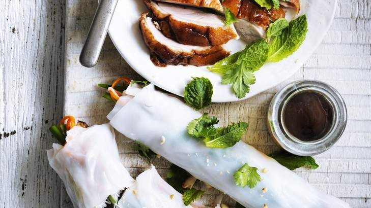 Neil Perry's roast duck rice-paper rolls are delicious as finger food or as part of an Asian feast.