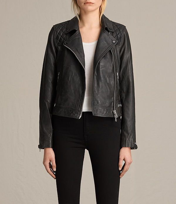Womens Conroy Leather Biker Jacket (Ink) - product_image_alt_text_1
