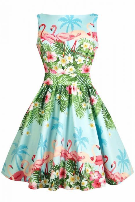 b15630beaaeb1 Tea Dress - Flamingo Border - Blue in 2019   ~Spring Outfits ...