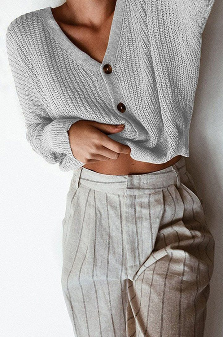 38b63851a0 Casual Cute Comfy Fall Outfit Ideas for Women - Cropped Ribbed Knit Sweater  Button Up Cardigan for School Teens Girls - Cómodas ideas de ropa de otoño  para ...